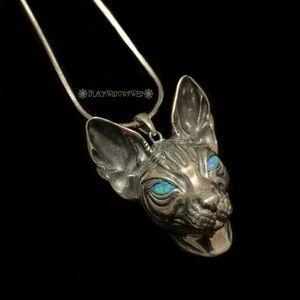 Custom made Bastet pendant Sterling Silver w/chain